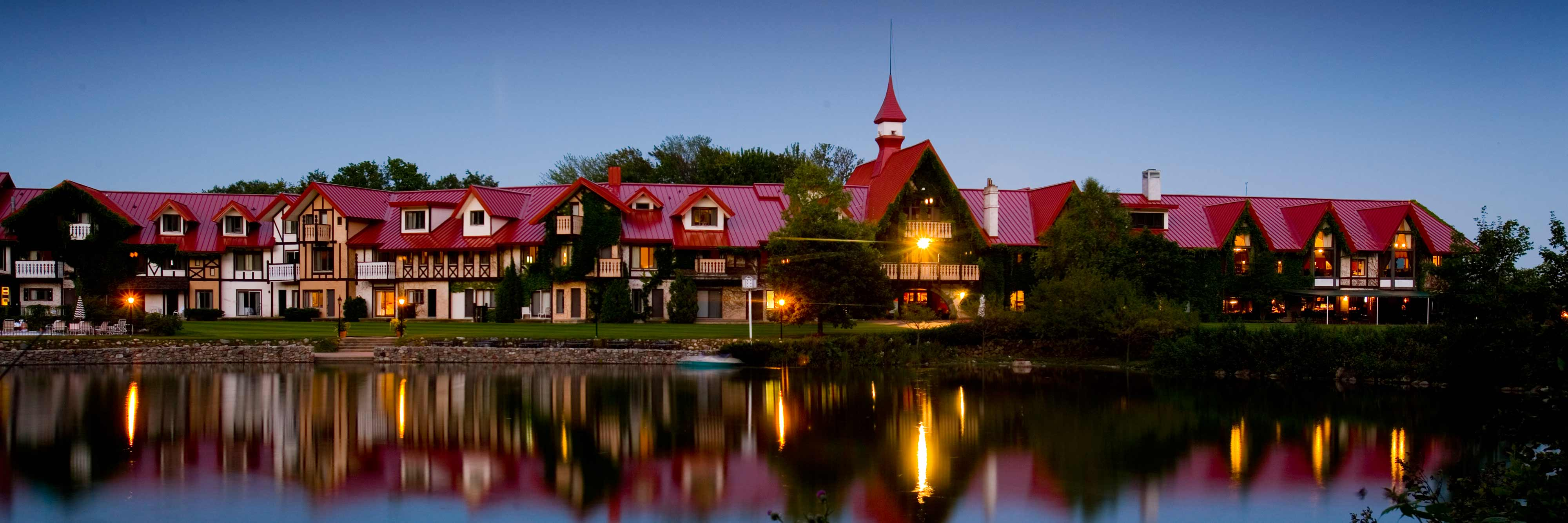 A night view of The Main Lodge at Boyne Highlands Resort.